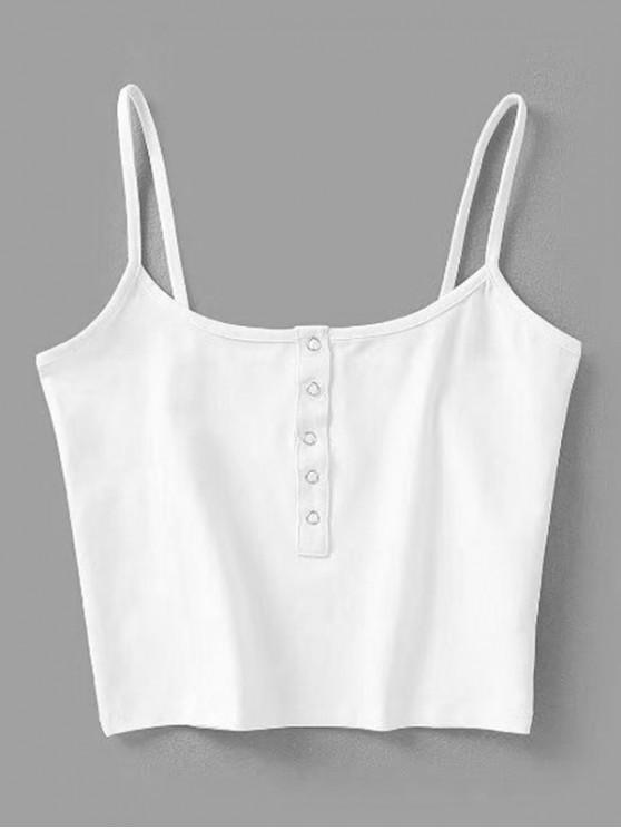 996e590604a9cc 22% OFF] [HOT] 2019 Cropped Snap Button Tank Top In WHITE | ZAFUL