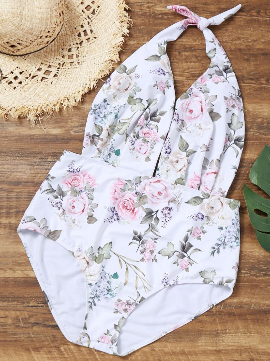 outfits Halter Floral Plus Size Bathing Suit - WHITE 4XL