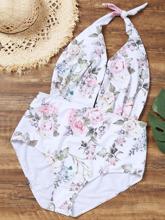 Halter Blumen Plus Größe Badeanzug - Weiß 4XL