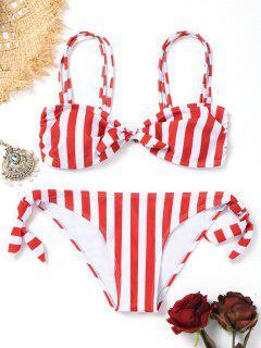 Geknoteter Gestreifter Bügel-Bikini - Rot Und Weiß S