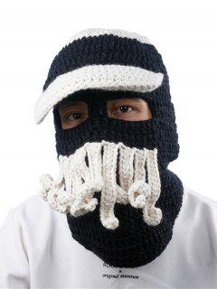 Funny Beard Embellished Crochet Knitted Beanie - Black White