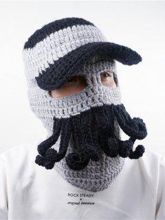 Funny Beard Embellished Crochet Knitted Beanie - Black Grey