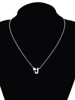 Heart Letter J Collarbone Pendant Necklace - Silver