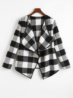Checked Draped Asymmetric Coat - Black S