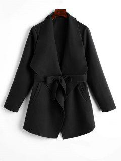 Plain Belted Coat With Pockets - Black M