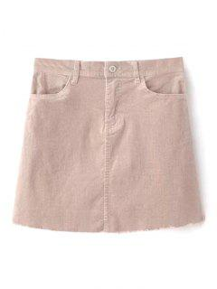 Frayed Hem Corduroy Mini Skirt - Nude Pink L