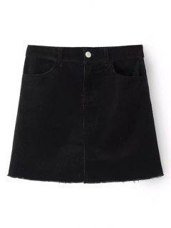 Mini Jupe à Bordure Usée En Velours Côtelé - Noir L