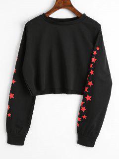 Stern-grafisches Ernte-Sweatshirt - Schwarz L
