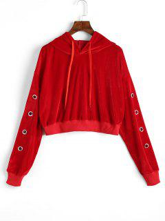 Hollow Out Velvet Crop Hoodie - Red