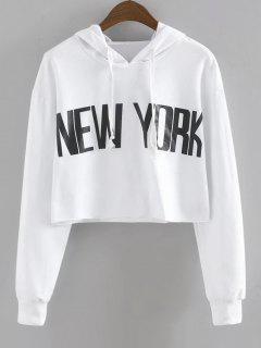 Drawstring New York Cropped Hoodie - White S