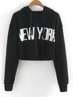 Drawstring New York Cropped Hoodie - Black S