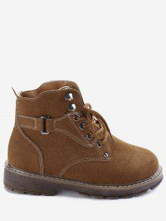 Studs Lace Up Stitching Boots - Brown 39