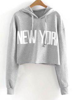Drawstring New York Cropped Hoodie - Gray S