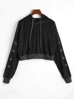 Hollow Out Velvet Crop Hoodie - Black