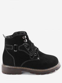 Studs Lace Up Stitching Boots - Black 39