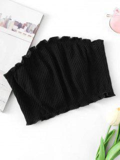 Knitted Ribbed Tube Top - Black