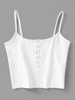 Cropped Snap Button Tank Top - White M