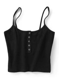 Cropped Snap Button Tank Top - Black S