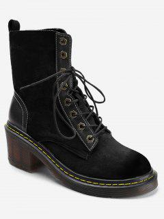 Stitching Chunky Heel Lace Up Boots - Black 36