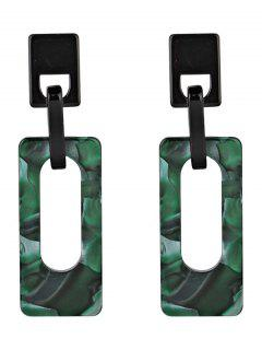 Hollow Geometric Rectangle Acrylic Drop Earrings - Green