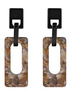 Hollow Geometric Rectangle Acrylic Drop Earrings - Brown