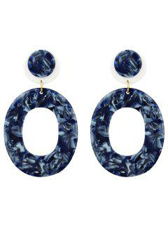 Vintage Oval Shape Acrylic Stud Drop Earrings - Blue