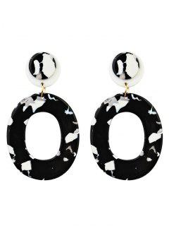 Vintage Oval Shape Acrylic Stud Drop Earrings - Black