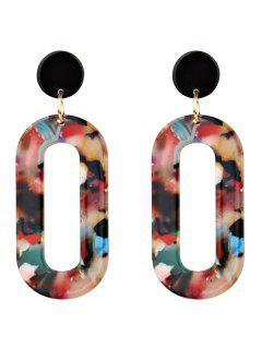 Acrylic Oval Vintage Drop Earrings - Red