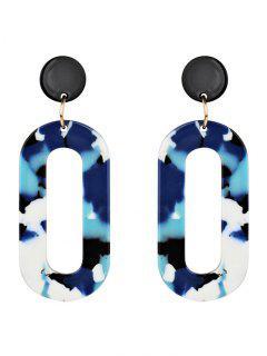Acrylic Oval Vintage Drop Earrings - Blue