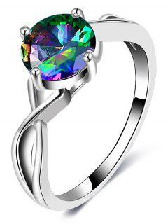 Faux Gemstone Infinite Finger Ring - Silver 7