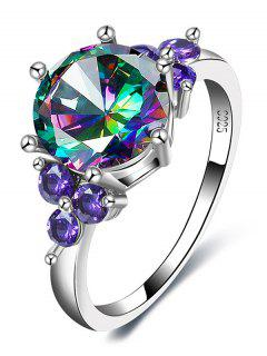 Faux Gem Amethyst Round Finger Ring - Silver 8