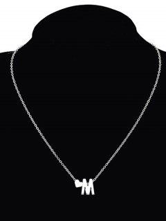 Heart Letter M Collarbone Pendant Necklace - Silver