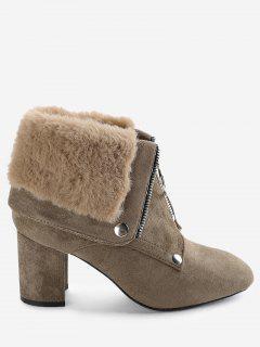 Chunky Heel Warm Inside Foldover Boots - Khaki 39