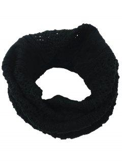 Hollow Out Crochet Knitted Infinity Loop Scarf - Black