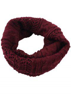 Hollow Out Crochet Knitted Infinity Loop Scarf - Wine Red