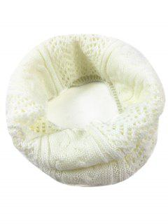 Hollow Out Crochet Knitted Infinity Loop Scarf - Milk White