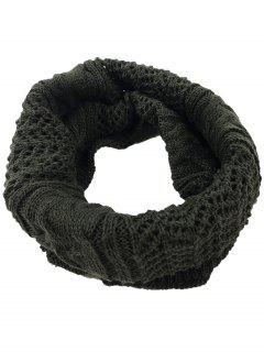 Hollow Out Crochet Knitted Infinity Loop Scarf - Espresso