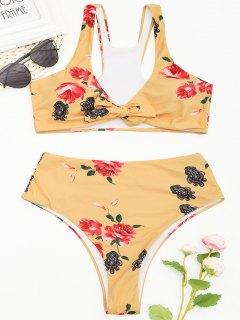 Racerback - Hoch Geschnittenes Bikini-Set Mit Blumenmuster - Gelb S