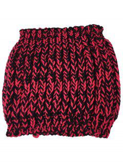 Colormix Pattern Crochet Knitted Infinity Scarf - Claret