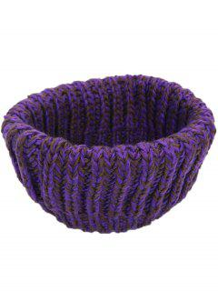 Colormix Pattern Crochet Knitted Infinity Scarf - Purple
