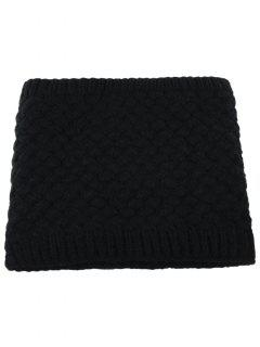 Corn Shape Pattern Crochet Knitted Infinity Loop Scarf - Black