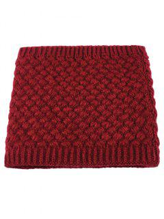 Corn Shape Pattern Crochet Knitted Infinity Loop Scarf - Wine Red