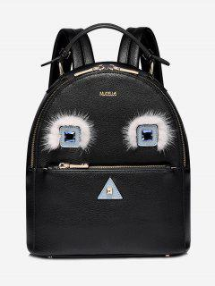 Rhinestone Cartoon Geometric Backpack - Black