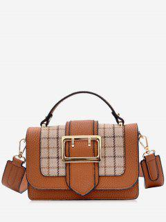 Plaid Buckle Strap Crossbody Bag With Handle - Brown