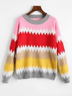 Crew Neck Zigzag Graphic Sweater - Multi