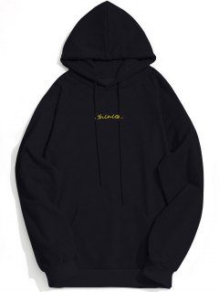 Kangaroo Pocket Chinion Graphic Hoodie - Black L