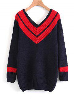 Pullover Two Tone V Neck Sweater - Red
