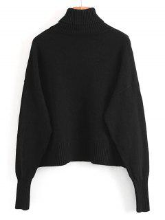 Pullover Turtleneck Sweater With Pockets - Black