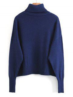 Pullover Turtleneck Sweater With Pockets - Deep Blue