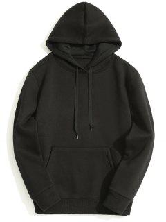 Fleece Lining Kangaroo Pocket Hoodie - Black M